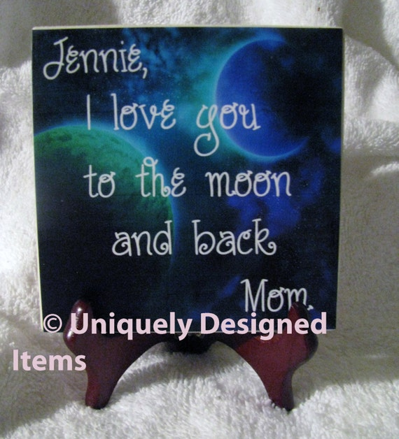Personalized I I Love You To The Moon And Back Gift For Child Boyfriend Girlfriend Anniversary - word art on tile