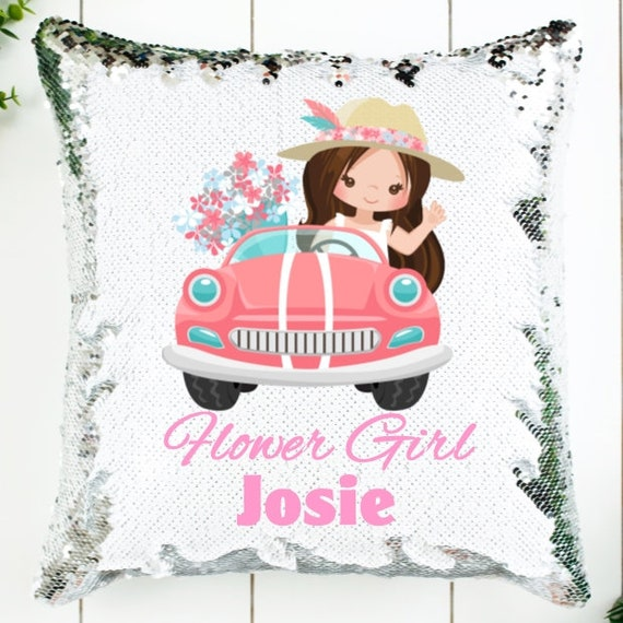 Personalized Flower Girl Gift, Sequin Pillow Cover, Wedding, Gift for Girls