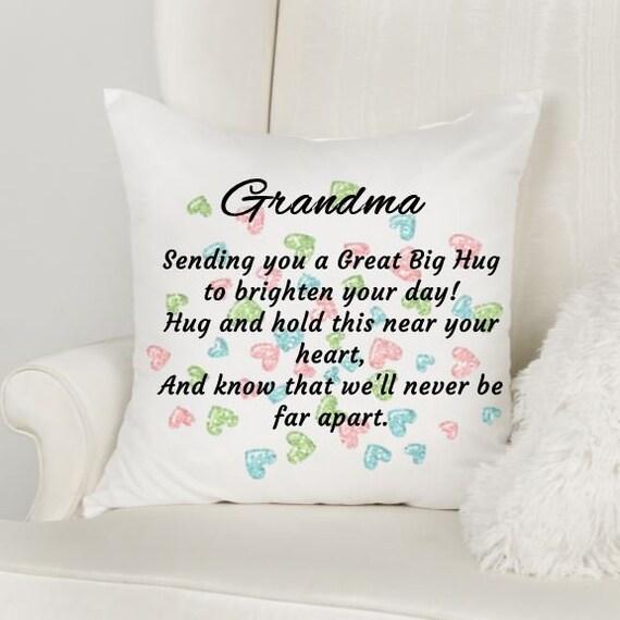 Personalized Grandma Pillow Cover, HUG Pillow, Christmas, Long Distance Grandma Gift