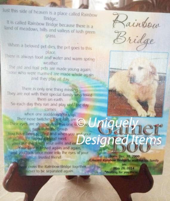 Pet memorial --Rainbow Bridge pet tile--- remember your furry friend- Pet Sympathy Gift- Pet Memorials- Pet Loss