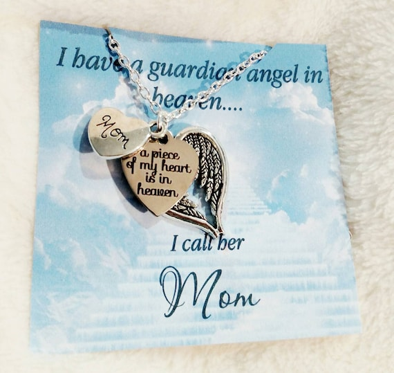 Angel Mom- memorial necklace- memorial gift idea-remembrance jewelry-sympathy jewelry-loss of mother-sympathy gift-in loving memory-necklace