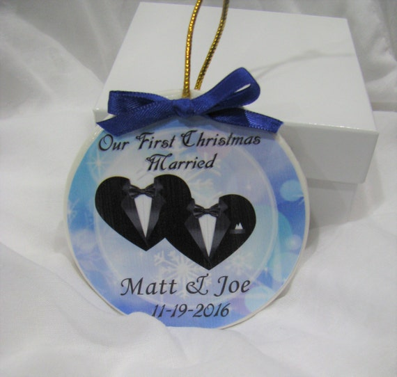 Personalized Gay Wedding Christmas Ornament