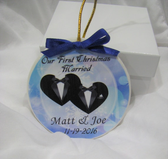 Gay Wedding Gift - Gay wedding gift for gay couples--First Christmas Gay marriage ornament- Great wedding gift!