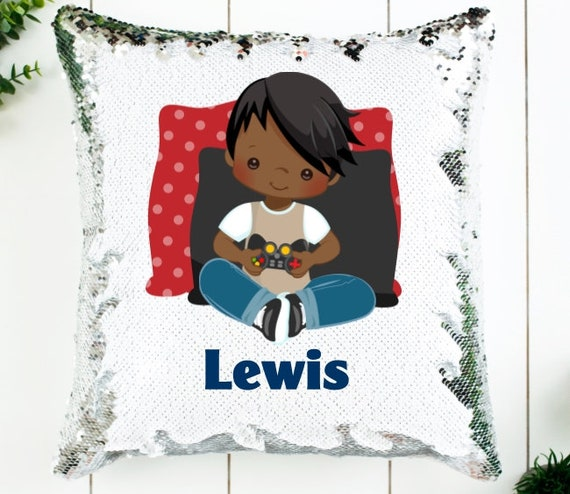 Video Game Decor for Boys, Personalized Sequin Pillow, Birthday, Christmas, Gifts for Boys