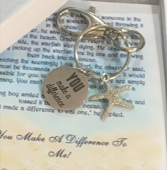 Keychain, Key chain, Starfish, You Make A Difference