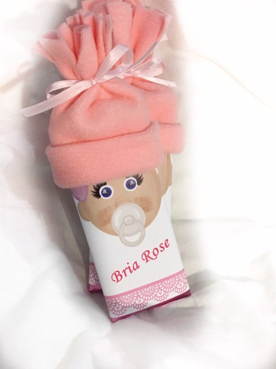 Personalized Coral Colored Chocolate Baby Shower Favors It's A Girl!