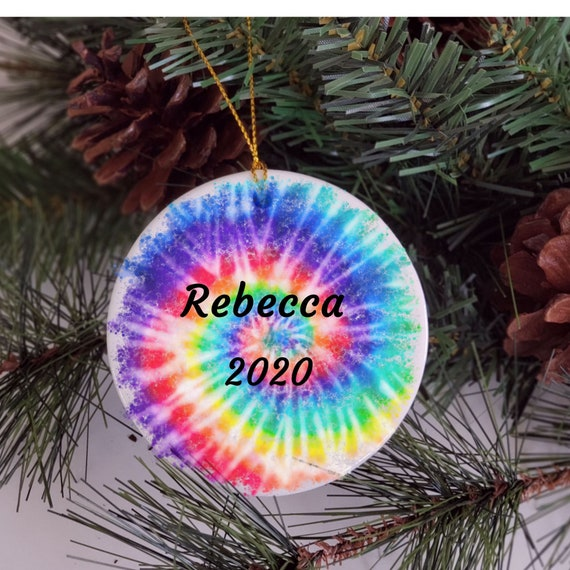 Tie Dye, Personalized Ornament, Christmas, Gift for Granddaughter