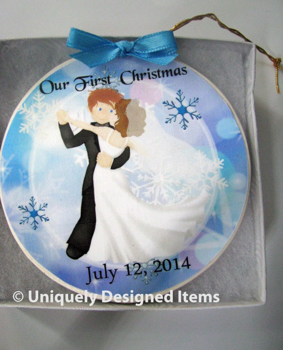 Personalized First Christmas Married Ornament - Mr. & Mrs. - Wedding Newlyweds - Wedding Gift-  First Christmas married ornament