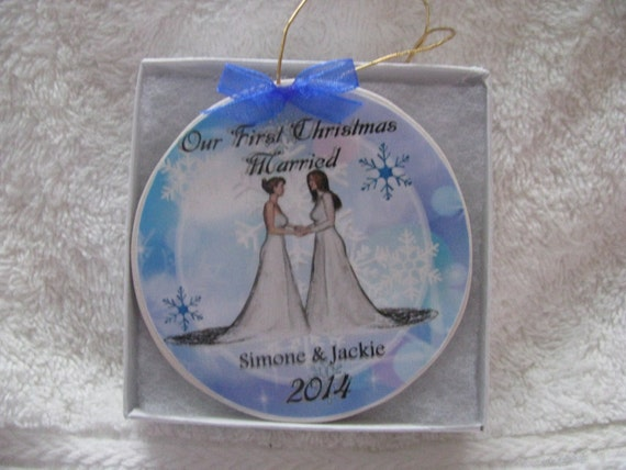 Gay Wedding Gift- Lesbian Wedding Gift - Gay Christmas Ornament - First Christmas Gay marriage ornament- Great wedding gift!