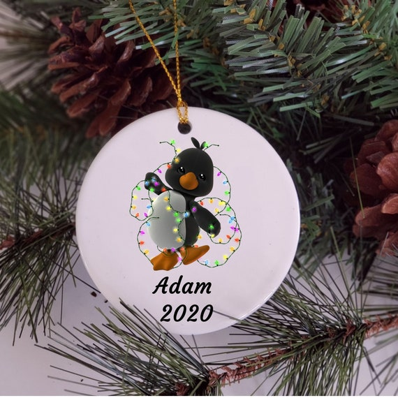 Penguin Gift, Personalized Ornament, Christmas Gift for Son