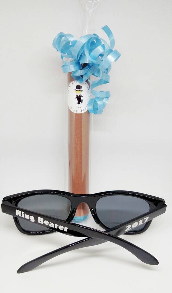 Ring Bearer or Jr Groomsman Gift Candy Cigar and Sunglasses set