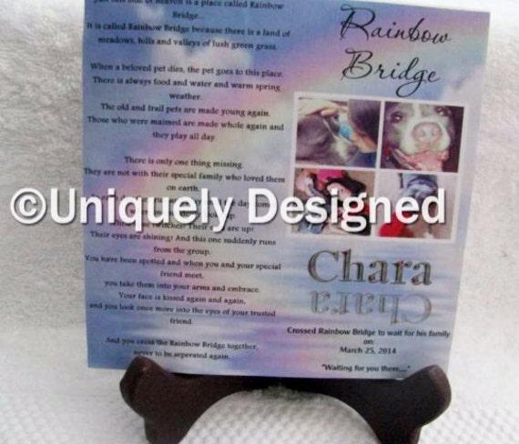 Pet memorial plaque - Remember your furry friend-- Rainbow Bridge