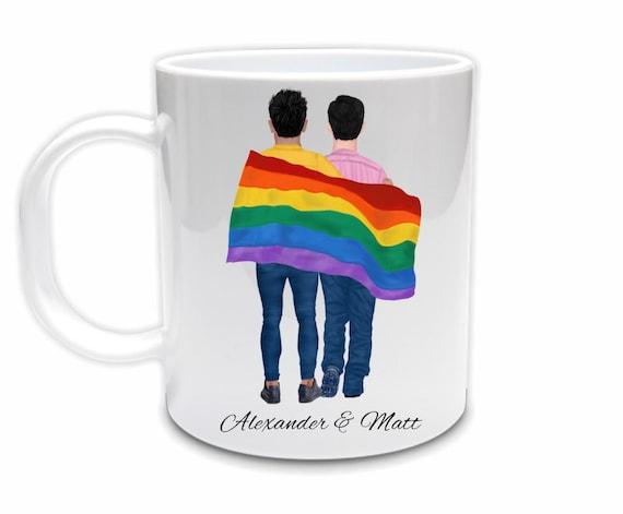 Gay Couple Ceramic Mug, Gay Pride, LGBTQ, Love is Love, Gift for Boyfriend