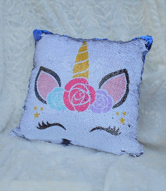 Personalized Unicorn Sequin Pillow Cover, Christmas Gift, Gift for Her