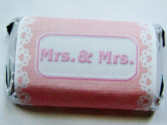 Gay wedding favors- Mrs and Mrs and Mr and Mr Personalized Hershey Miniatures