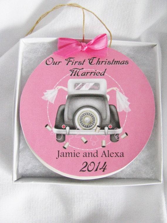 Lesbian wedding gift  - Personalized wedding ornament - Gay Wedding Gift - Gay Wedding -First Christmas Gay marriage ornament- Wedding Gift