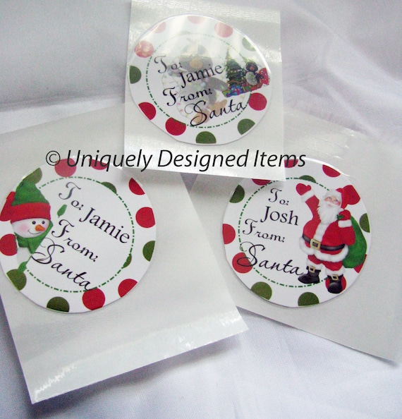 Personalized Christmas Stickers, Santa Gift Stickers, Christmas, Gifts for Kids