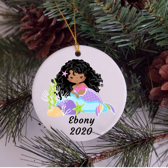 Mermaid Ornament, Personalized, African American, Christmas Gift for Daughter