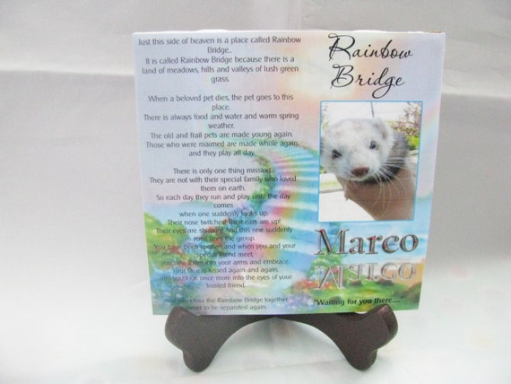 Personalized Pet Loss Gift Rainbow Bridge Gift Plaque  Pet memorial gift