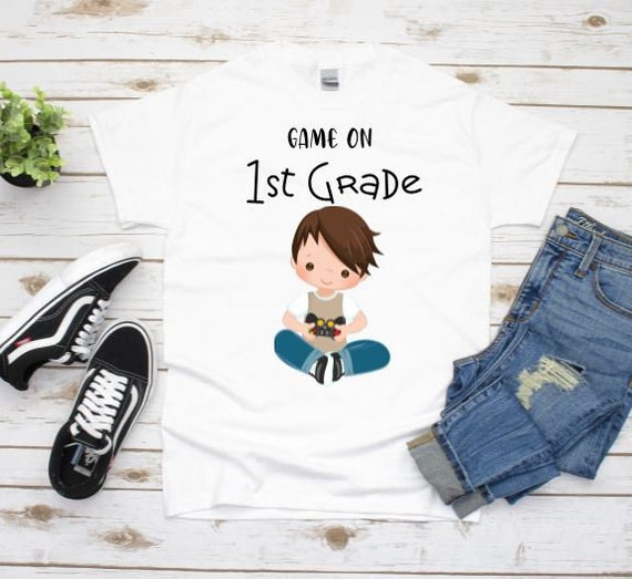Game On First Grade Graphic Tee, Back To School, Gift for Nephew