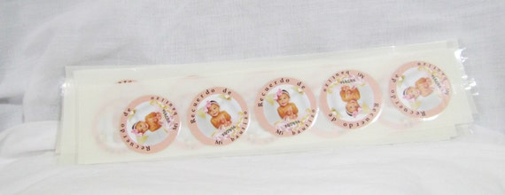 "Personalized Baptism Favor Stickers Round Labels 2"" Mi Bautizo Personalized Stickers"