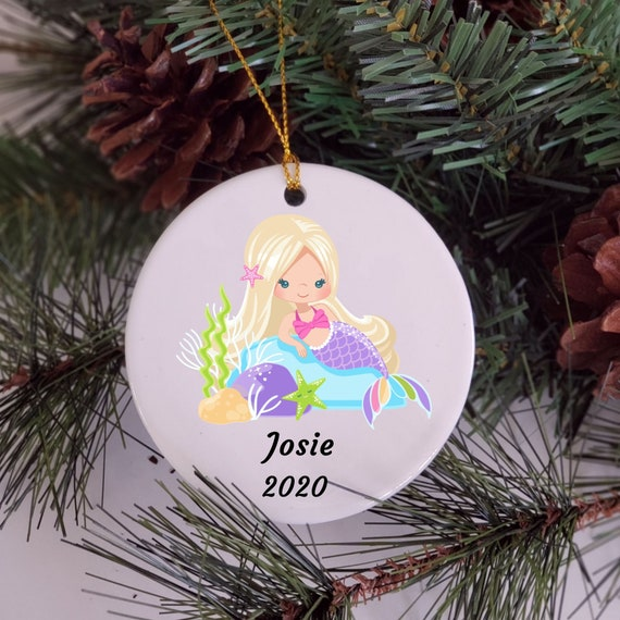 Mermaid Ornament, Personalized Ornament, Christmas, Granddaughter Gift