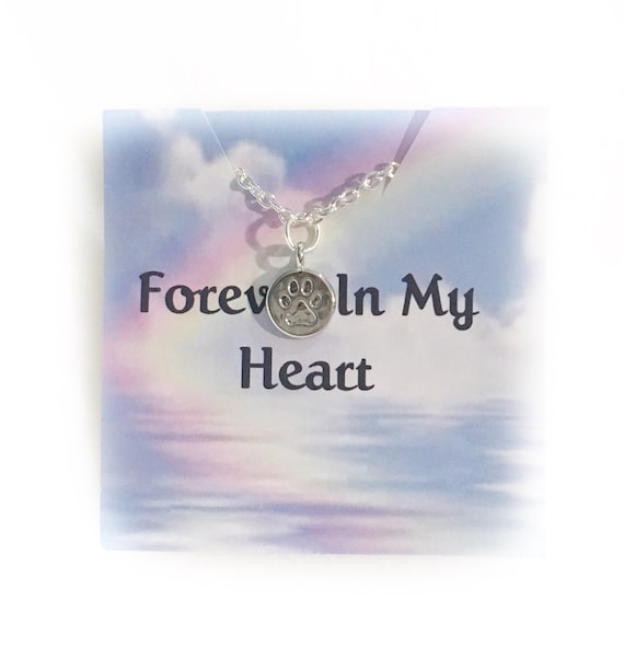Forever In My Heart Pet Memorial Jewelry Necklace 18 inch chain paw print charm