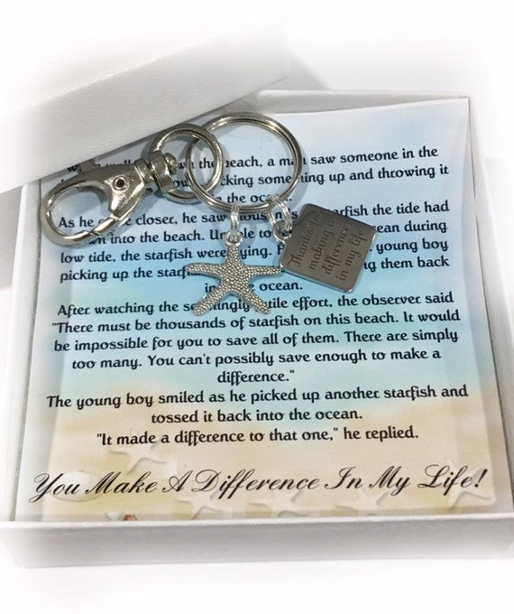 Make a difference thank you gift-teacher gift coach gift gift for teacher keychain