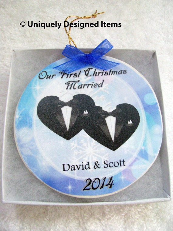 Gay Marriage Gift - Gay Wedding Gift - Gay Wedding - Gay Gift - Gay Couple - Gay Marriage - Christmas Ornament - First Christmas Married