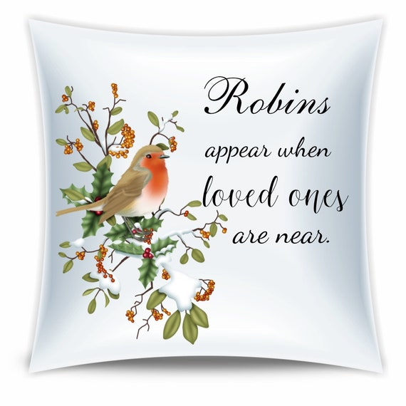 Father Memorial Gift, Robins Appear, Throw Pillow, Friend Gift