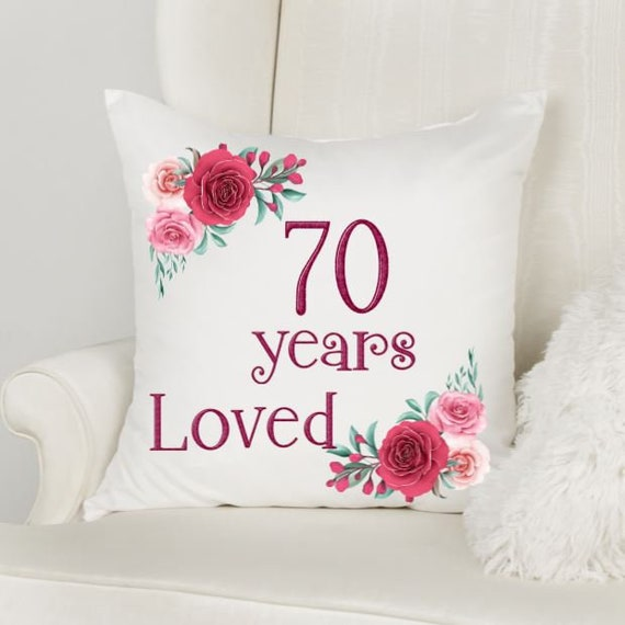 70th Birthday Gifts for Women, Throw Pillow, Birthday, Gift for Mom