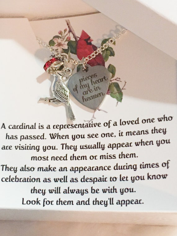 Memorial Necklace, When Cardinals Appear. Bereavement, Loss of Father, Friend Gift