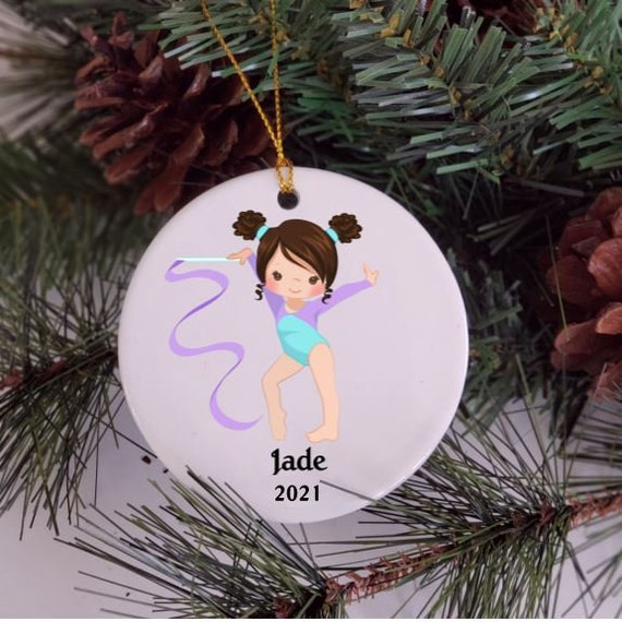 Gymnastics Ornament, Personalized, Christmas Gift for Granddaughter