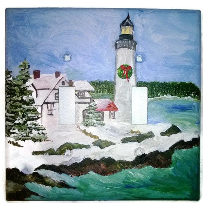 Nautical Lighthouse Winter Scene Acrylic Painted Light Switch Etsy