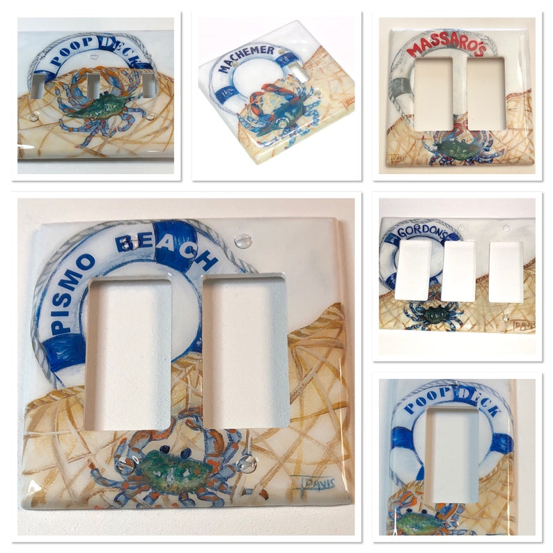 Personalized Blue Crab Life Ring Switch Plates and outlets Hand Painted by Tdavispainthouse Custom Nautical Ocean Theme Home Decor