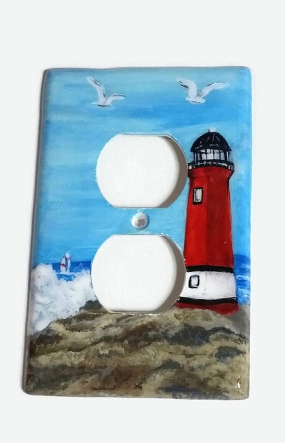 PERSONALIZED NAUTICAL SAIL BOAT COSTAL  DOUBLE LIGHT SWITCH PLATE COVER