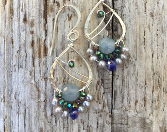 Aquamarine raindrop earrings