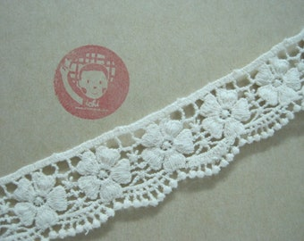 "Premium Quality 1/""//2.5cm White Cotton Broderie Anglaise Lace Remnant Pack"