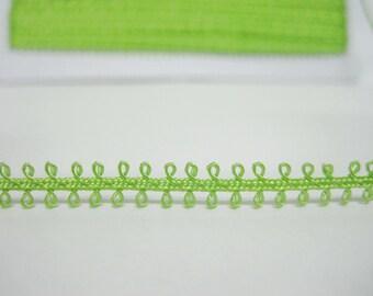 picot edge ribbon green picot trim 5 yards Dark Green Picot Trim green picot lace trim soutache braid picot edge trim tiny picot trim