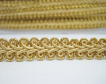 Trimplace Gold Metallic 1//2 INCH CHINESE BRAID 12 Yards
