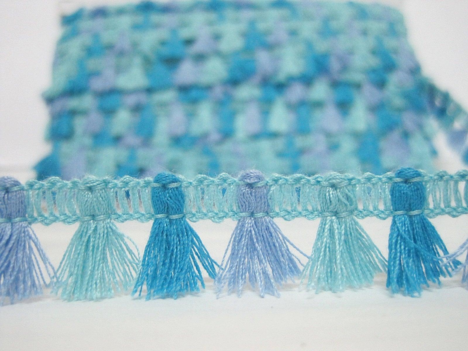tassel trim blue trim boho trim blue tassel fringe 5 yards Turquoise Boho Tassel Fringe Tassel garland blue fringe blue tassel trim