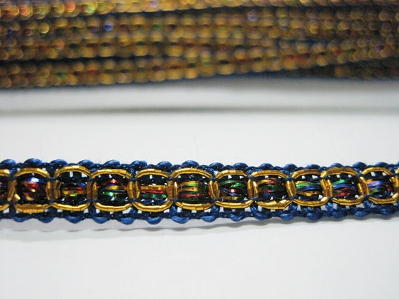 1.3cm Gorgeous Navy Blue and gold braided lace trim for designing arts 1 metre