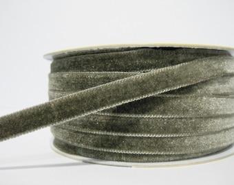"5 yards 3/8"" Light Gray Velvet Ribbon, Gray Ribbon, Ribbon lot, Wholesale Ribbon, Gray Velvet trim, Light gray velvet ribbon, gray trim"