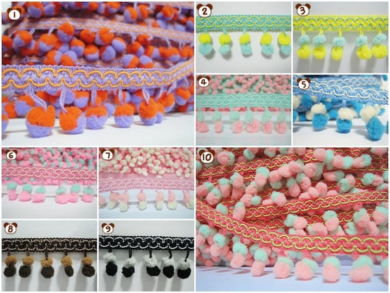 Mini Pom Pom Braid Fringe Trim Haberdashery Curtains Lampshades Sewing Crafts
