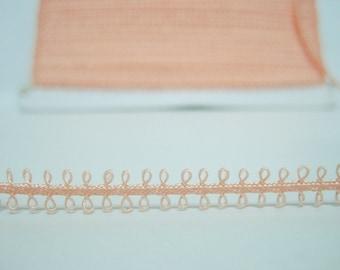 5 yards Peach Pink Picot Trim, picot edge trim, picot edge ribbon, picot lace trim, tiny picot trim, soutache braid, pink picot trim, pink