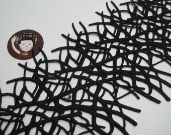 """1 Yard 5"""" Black Cotton Lace, Black Trim, wholesale trim, black tassel trim, Cotton tassel, black tassel, black cotton trim, dress lace"""