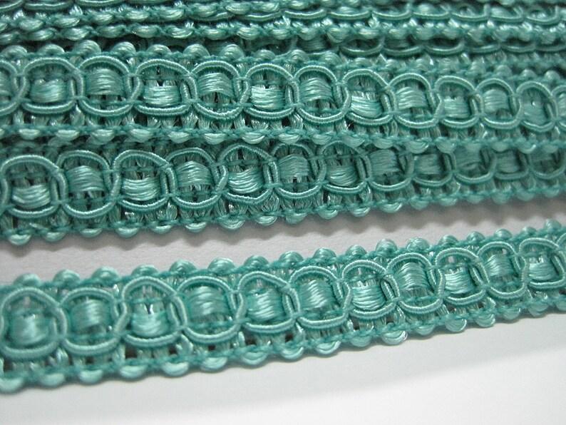 Green with Blue Decorative Scroll Style Braid Gimp Trim