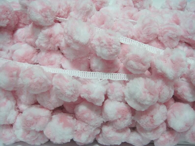 5 Yards 3.5 cm Jumbo Pom Pom Trim Pink-White Pom Poms Extra  fe3d5b849293