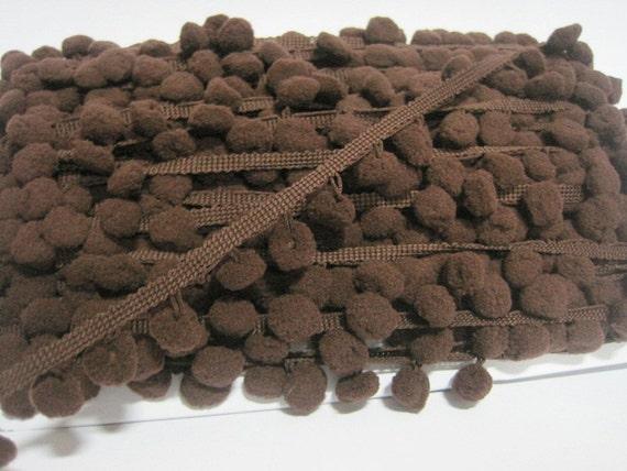 5 yards foncé brun grand Pom Pom Trim, bordé de brun, marron pom pom couleur garniture, garniture beaucoup, garniture en gros, foncé brun chocolat, garniture pom pom garniture