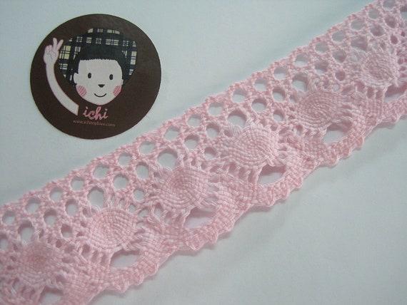 "1 Yard black Pink Floral Embroider Crochet Lace Trim For DIY Craft Wide 8 1//2/"""